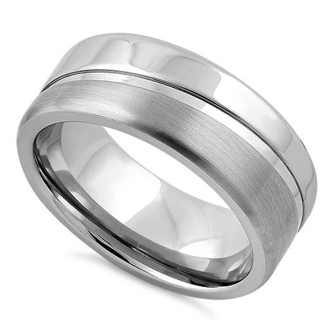 Stainless Steel Polished Offset Groove Satin Finish Band Ring