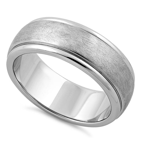 Stainless Steel Wire Matte Finished Groove Band Ring