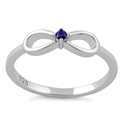 Sterling Silver Infinity Ribbon Amethyst CZ Ring