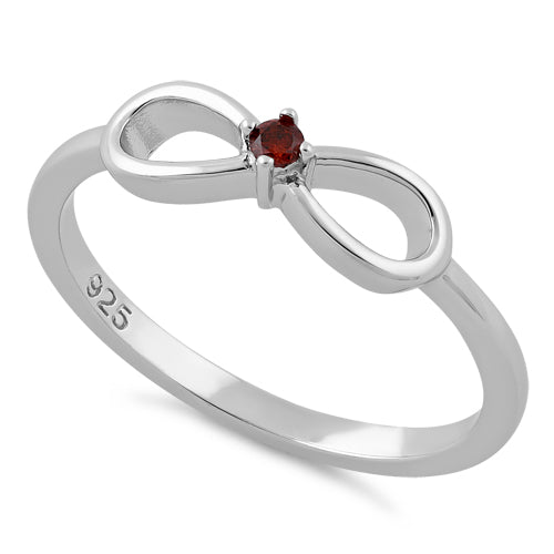 Sterling Silver Infinity Ribbon Dark Garnet CZ Ring