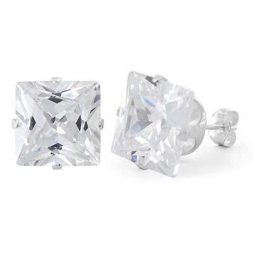 Sterling Silver 10mm Princess Cut CZ Stud Earrings Square