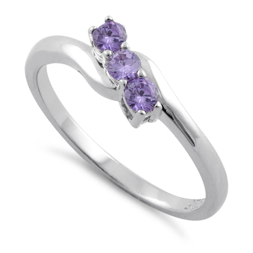 Sterling Silver 3 Amethyst Stones CZ Ring