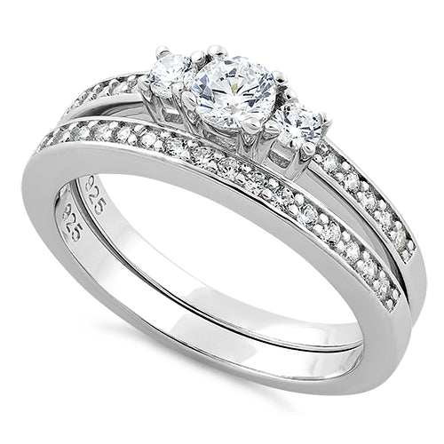 Sterling Silver 3 Stones Engagement Set Ring