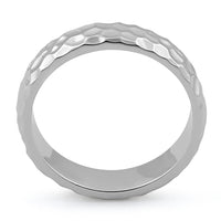 Sterling Silver 4.7mm Hammered Ring