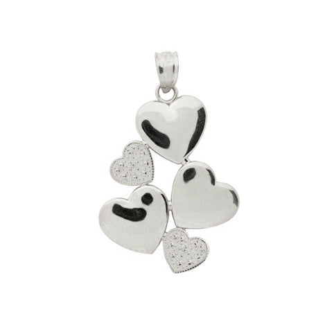 Sterling Silver 5 Hearts Pendant