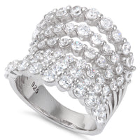Sterling Silver 7 Rows Graduated CZ Ring