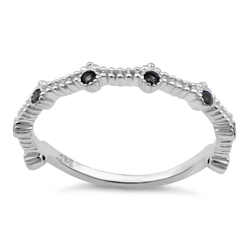 Sterling Silver 8 Black CZ Ring