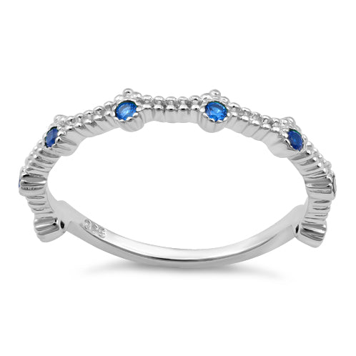 Sterling Silver 8 Blue Sapphire CZ Ring