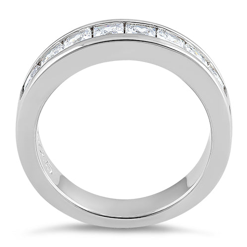 Sterling Silver 8 Square Clear CZ Ring