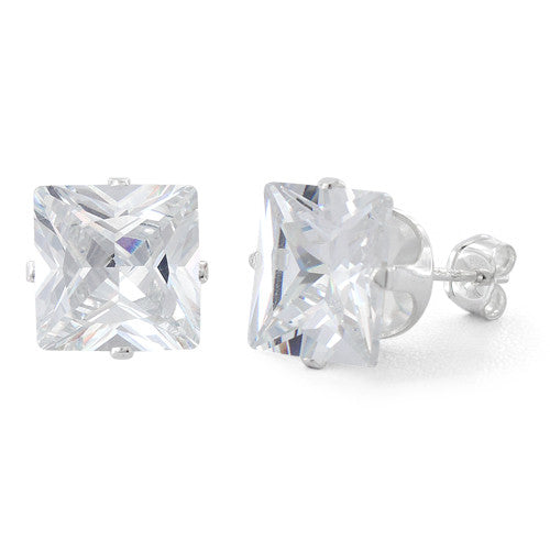 Sterling Silver 9mm Princess Cut CZ Stud Earrings Square