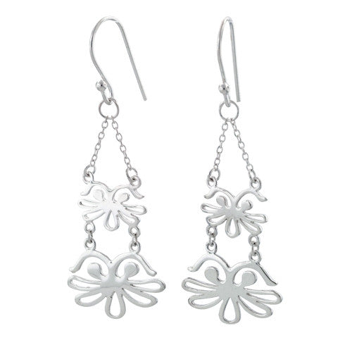 Sterling Silver Abstract Dangling Hook Earrings