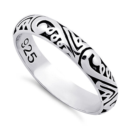 Sterling Silver Abstract Design Eternity Band