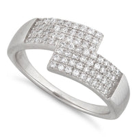 Sterling Silver Abstract Pave CZ Ring