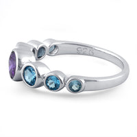Sterling Silver Amethyst & Blue Topaz Seven Stone Round CZ Ring