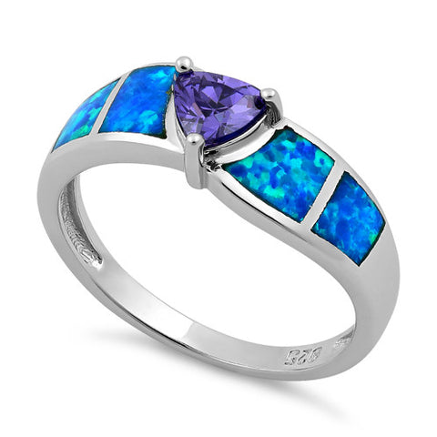 Sterling Silver Amethyst Center Trillion Cut Stone Blue Lab Opal Ring