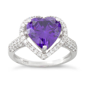 Sterling Silver Amethyst Heart Halo CZ Ring