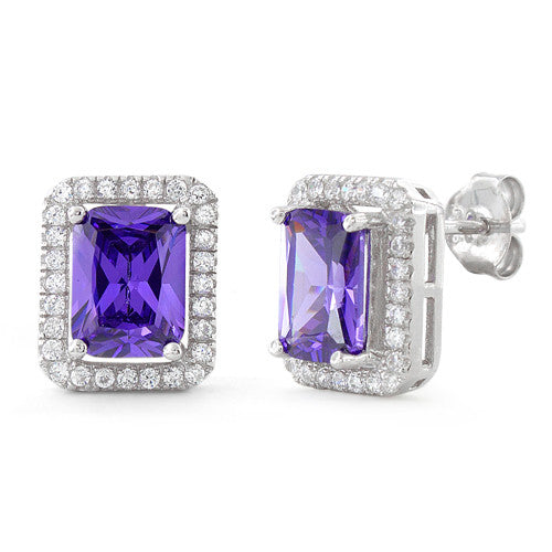 Sterling Silver Amethyst Rectangular CZ Earrings