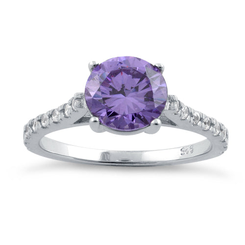Sterling Silver Amethyst Round Cut Engagement CZ Ring
