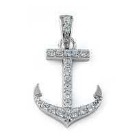 Sterling Silver Anchor Clear CZ Pendant