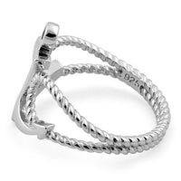 Sterling Silver Anchor Rope Ring