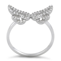 Sterling Silver Angel Wings CZ Ring