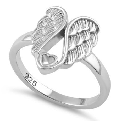 8b04ce3572513 Sterling Silver Angel Wings with Heart Ring