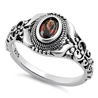 Sterling Silver Austere Oval Cut Brown CZ Ring