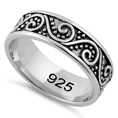 Sterling Silver Bali Swirl Band Ring
