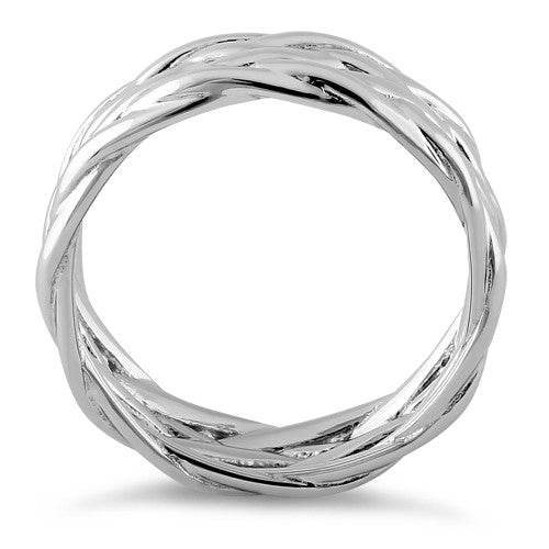 Sterling Silver Basket Weave Eternity Band