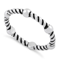 Sterling Silver Bead & Rope Stackable Ring