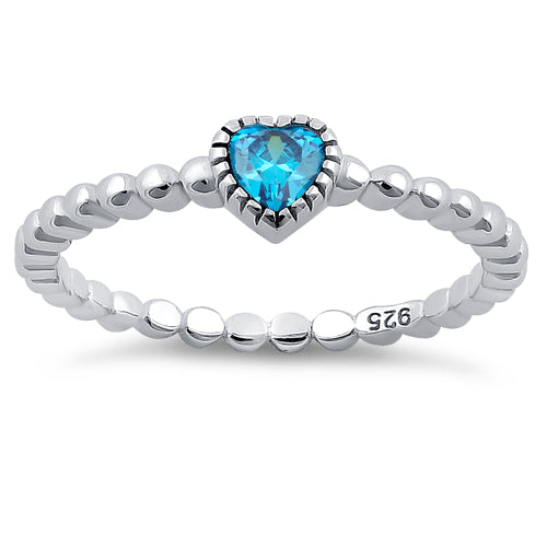 Sterling Silver Beaded Blue Topaz Heart CZ Ring