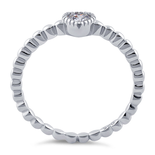 Sterling Silver Beaded Clear Heart CZ Ring