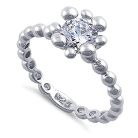 Sterling Silver Beaded Clear Round CZ Ring