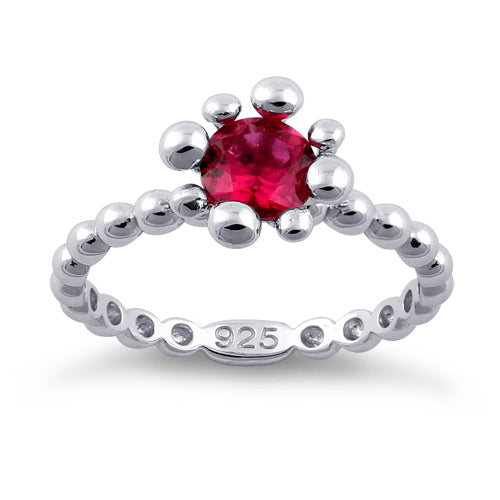 Sterling Silver Beaded Ruby Round CZ Ring