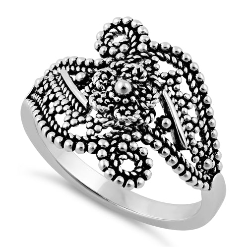 Sterling Silver Beads Flower Ring