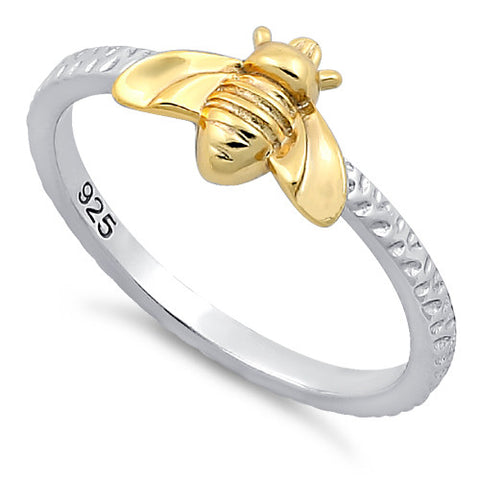 Sterling Silver Bee Two Toned Ring
