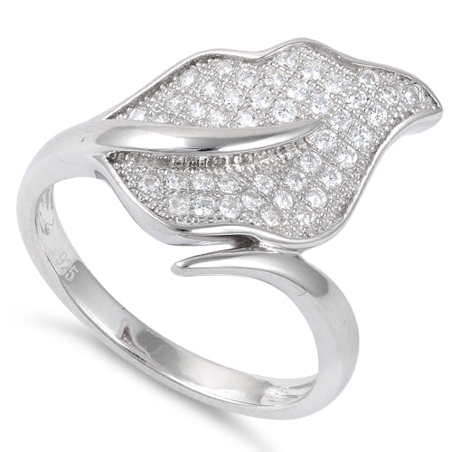 Sterling Silver Big Leaf Pave CZ Ring