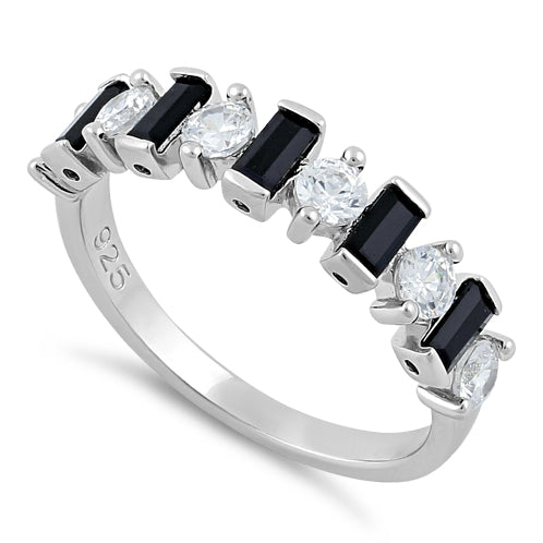 Sterling Silver Black and White CZ Ring
