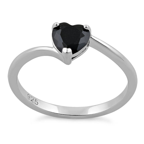 Sterling Silver Black Heart CZ Ring