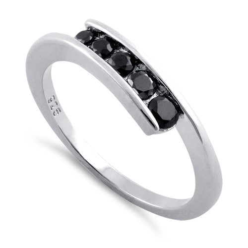 Sterling Silver Black Onyx Free Form Ring