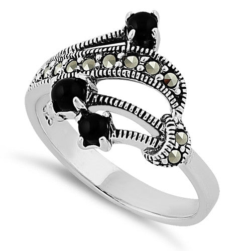 Sterling Silver Black Onyx Marcasite Ring