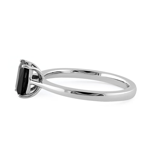 Sterling Silver Black Radiant Cut CZ Ring