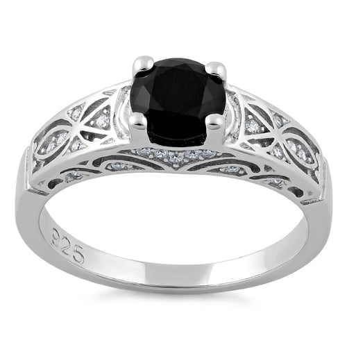 Sterling Silver Black Round Cut Engagement CZ Ring