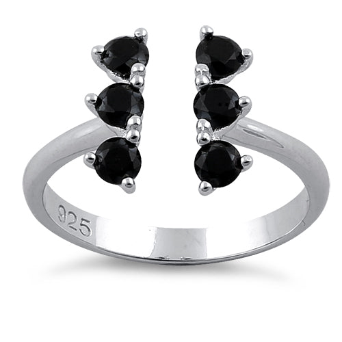 Sterling Silver Black Six Round Stones Adjustable CZ Ring