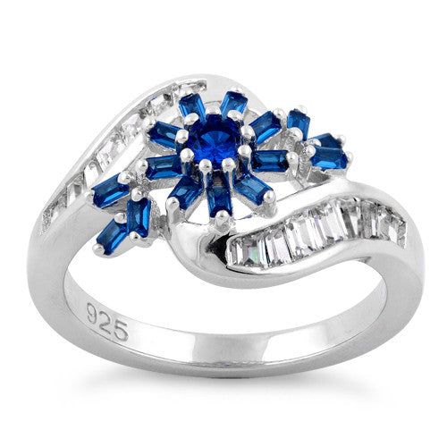 Sterling Silver Blooming Flower Blue Sapphire CZ Ring