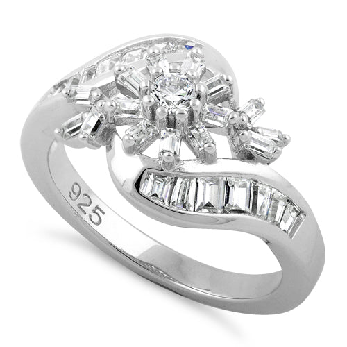 Sterling Silver Blooming Flower Clear CZ Ring