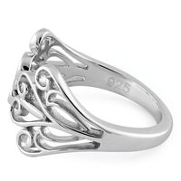 Sterling Silver Blooming Hearts Ring