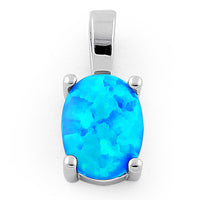 Sterling Silver Blue Lab Opal Oval Pendant