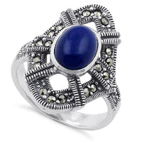 Sterling Silver Blue Lapis Oval Marcasite Ring