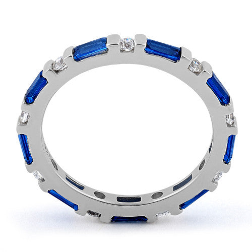 Sterling Silver Blue Sapphire and White CZ Eternity Ring